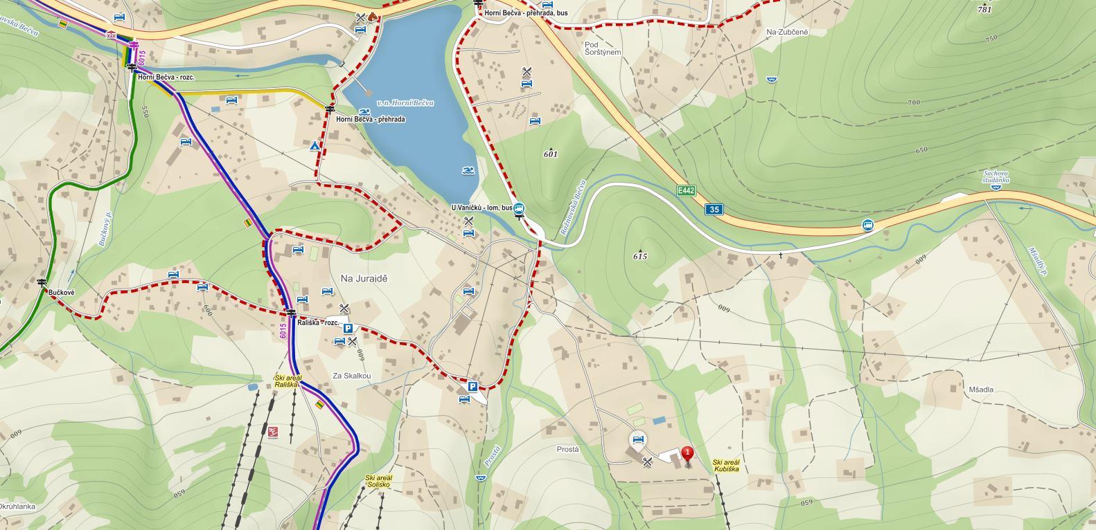 Mapa Test centrum Duo, Horní Bečva